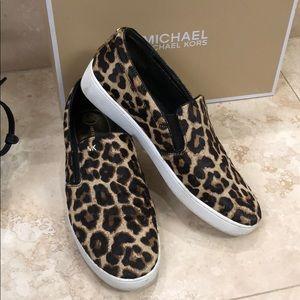 Michael Kors leopard slip ons